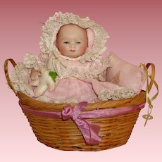 Precious All Bisque Grace S.Putnam Baby Doll with Original Basket