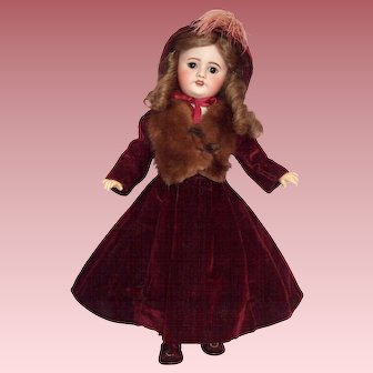 "Beautiful S.F.B.J 19"" French Bisque Head Doll in Fabulous Costume"
