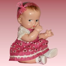 """1930's 10"""" All Composition Side Glancing Baby Doll in Vintage Costume"""