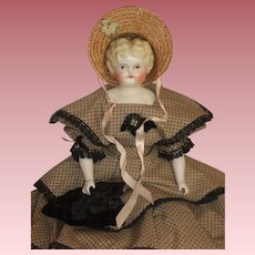 "Classy 19"" Hertwig Lowbrow China Head Doll - c1900"