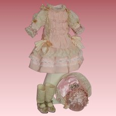 Beautiful French Bebe Dress, Bonnet, Shoes & Socks