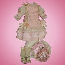 Beautiful French Bebe Dress, Bonnet, Shoes & Socks