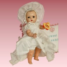"Lovely 18"" Horsman Baby Doll is Beautiful White Baby Gown with Matching Bonnet"
