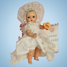 """Lovely 18"""" Horsman Baby Doll is Beautiful White Baby Gown with Matching Bonnet"""