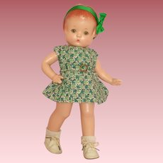 "Darling 13"" 1930's Effanbee Patsy Doll - Ready for Saint Patrick's Day Celebration!"