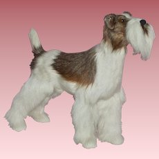Vintage real hair fur Dog to Display with your German or French Doll