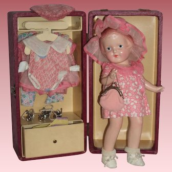 "Darling 12"" Arranbee ""Nancy"" Doll - All Original Trunk & Accessories"