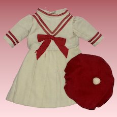 Vintage Sailor Style Dress & Hat for Small French or German Doll