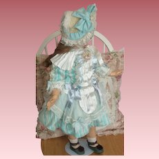 "Beautiful One of a Kind Dress & Bonnet for 23 - 24"" French Bisque Head Doll"