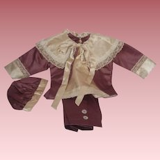 Precious Mauve & Cream 4-Piece Outfit for a Boy Doll