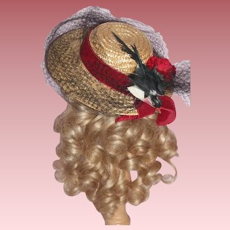 Wonderful Vintage Hat for French or German Bisque Head Doll