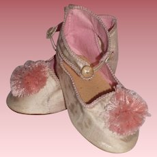 Vintage Pink Silk Doll Shoes for a Large Bisque Head Doll