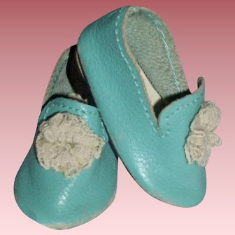 Tiny Leather Turquoise Blue Shoes for Bisque Head Dolls