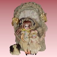 RARE -  Pair of Francois Gaultier Dolls with Crib & Accessories - c1885 - 1894