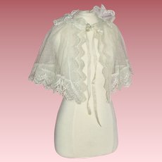 Beautiful One of a Kind Lace Shawl for Your French or German Bisque Head Doll
