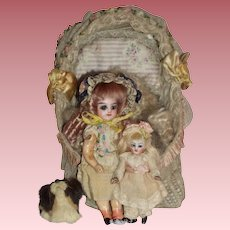 RARE -  Pair of Francois Gaultier Dolls with Crib & Accessories - c1885 - 1895