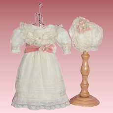Beautiful Jumeau Doll Original Dress & Bonnet