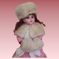 "3-Piece Mink Fur Shawl, Hat and Muff for 18 - 19"" Bisque Head Dolls"