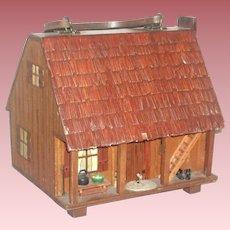 Charming Mid-Century Folk Art Dollhouse Box with Handles