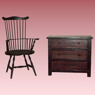 1890's Doll Dresser Made of Old Cigar Boxes with Chair