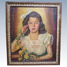 Mid Century Oil Portrait Painting of Young Lady Barbara Ann Klem 1947 Newark New Jersey