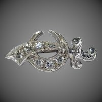 14k White Gold & Diamonds Shriners Masonic Lapel Pin Brooch Sword Crescent Moon