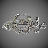 14k White Gold & Diamonds Shriners Masonic Lapel Pin Brooch Sword Crescent Moon