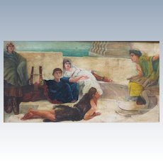 Antique Victorian Era Oil Painting of Classic Roman Scene
