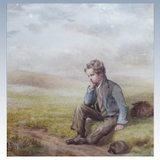 Antique 1859 Portrait Painting Watercolor of Young Boy by Listed Artist William Percy