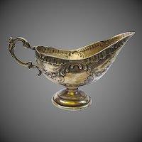 Antique Swedish Rococo Rose Repousse Silver Gravy Boat