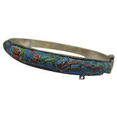 Beautiful Chinese Silver Kingfisher Feather Dragon Shou Bangle Bracelet