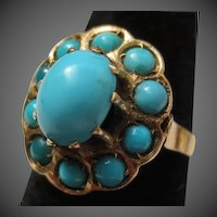 Lovely Antique 14k Rose Gold Victorian Persian Turquoise Halo Ring