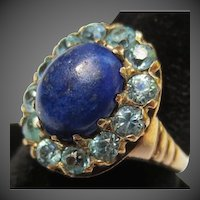 Lovely Antique Blue Zircon & Lapis Lazuli Halo 10k Gold Ring