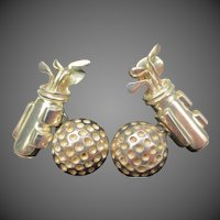 Golf Ball Club Set Sterling Silver Golfer Cufflinks