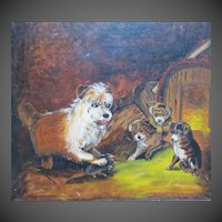 "Antique Victorian Era Terrier Dog & Puppies Oil Painting titled ""First Lesson"" Bonhams & Butterfields"