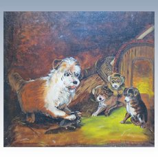 """Antique Victorian Era Terrier Dog & Puppies Oil Painting titled """"First Lesson"""" Bonhams & Butterfields"""