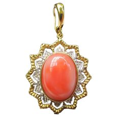 Vintage 14k Gold Coral & Diamond Star Pendant