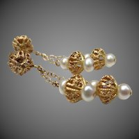 Beautiful Etruscan Revival 14k Gold Pearl Chandelier Wedding Earrings