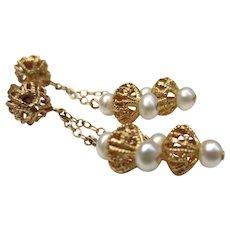Beautiful Etruscan Revival 14k Gold Pearl Chandelier Wedding Earrings