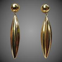 Fine 18k Gold Classic Vintage Torpedo Drop Earrings