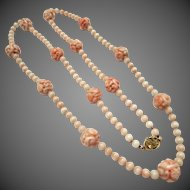 Gorgeous Chinese Carved Angel Skin Coral Dragon Shou Bead 14k Gold Necklace