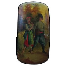 Antique Russian Figural Landscape Painting Lacquer Box
