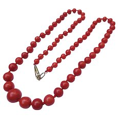 Lovely Victorian Coral Bead Necklace Antique Strand