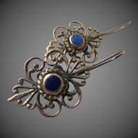 Vintage Sterling Silver Lapis Lazuli Earrings