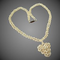 Lovely Pearl Heart Pendant Vintage Wedding Necklace