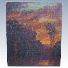 "Andrew Michael Dasburg Antique 1911 Landscape Oil Painting ""After Glow"" near Santa Rosa California"