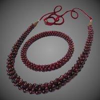 Lovely Vintage Bohemian Garnet Necklace & Bangle Bracelet