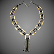 Fabulous Large Art Deco Beaded Mother Of Pearl Statement Necklace