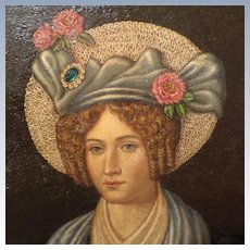 Large Antique Portrait Oil Painting Beautiful Lady Early 1800's