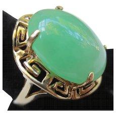 Vintage Large 14k Gold Jade Jadeite Cocktail Ring